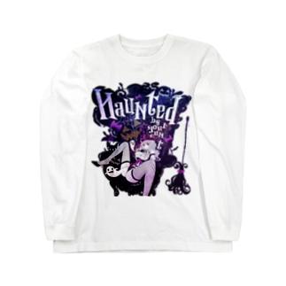 HAUNTED ハロウィンお化けと魔女の黒椅子 ロングスリーブTシャツ