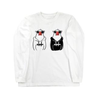 フーディ文鳥双子 ロングスリーブTシャツ