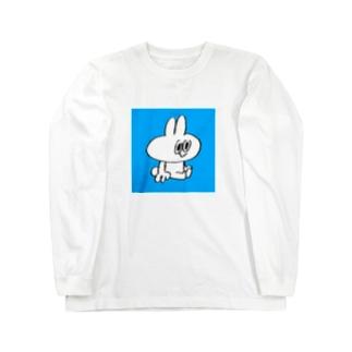 おすわりスティーブ(四角青) ロングスリーブTシャツ
