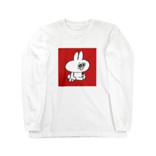 おすわりスティーブ(四角赤) ロングスリーブTシャツ