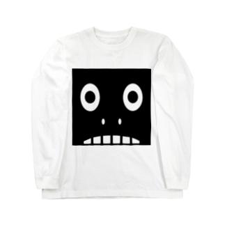 【 黒鬼: Black demon 】鼻ありドアップ ロングスリーブTシャツ
