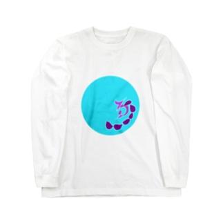 JUNSENSETA(瀬田純仙)古代絵者1水紫フチ無し ロングスリーブTシャツ