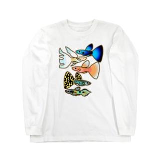 グッピー5匹 ロングスリーブTシャツ