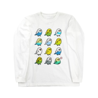 Chubby Bird セキセイインコ大集合 ロングスリーブTシャツ
