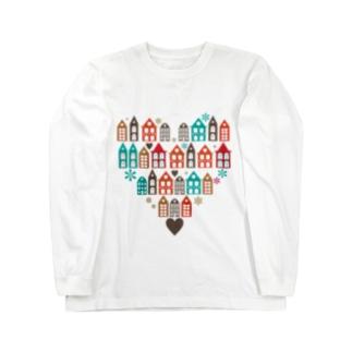 ハートの街並 ロングスリーブTシャツ