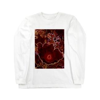 芙蓉 DATA_P_154 Confederate Rose ハスの花の古名 ロングスリーブTシャツ