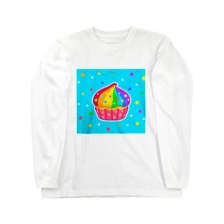【虹色HAPPYレインボー】「にじカップケーキ」(水色) ロングスリーブTシャツ