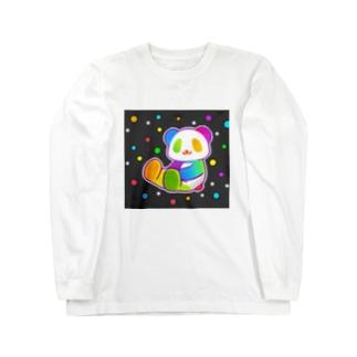 【虹色HAPPYレインボー】「にじパンダ」(黒) ロングスリーブTシャツ