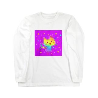 【虹色HAPPYレインボー】「にじネコ」(紫) ロングスリーブTシャツ