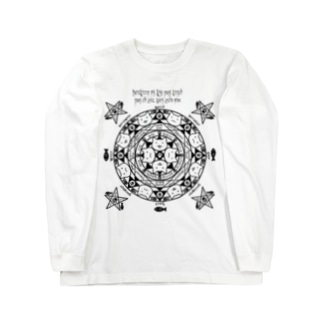 猫召喚魔法陣(黒線) ロングスリーブTシャツ