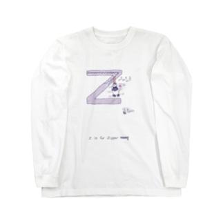 Z is for Zipper ジッパー 羊 蜘蛛 ロングスリーブTシャツ