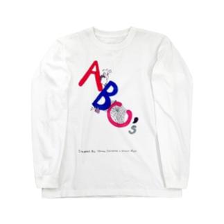 ABC アルファベット作者名入り羊 カラス 蜘蛛 ロングスリーブTシャツ