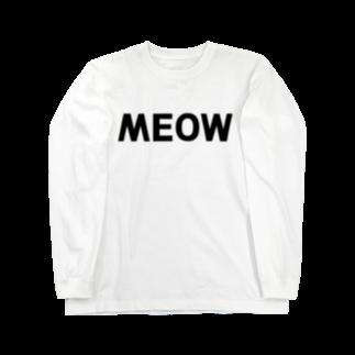 SHOP W SUZURI店のMEOW ロングスリーブTシャツロングスリーブTシャツ