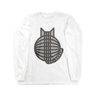 SHOP W SUZURI店の猫の丸い背中(サバトラ) ロングスリーブTシャツロングスリーブTシャツ