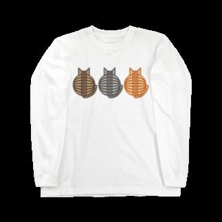 猫(3匹)の丸い背中 ロングスリーブTシャツ ロングスリーブTシャツ