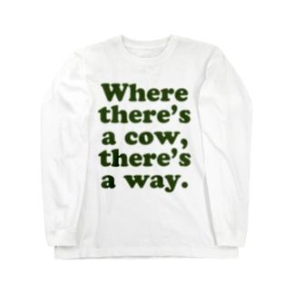 牛のあるところに道はある。 ロングスリーブTシャツ