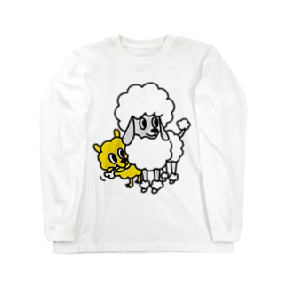 黄色いのと犬 ロングスリーブTシャツ
