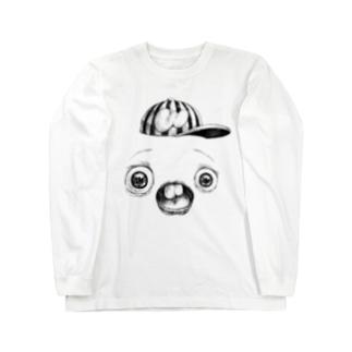 さちおくんの顔の写真 ロングスリーブTシャツ