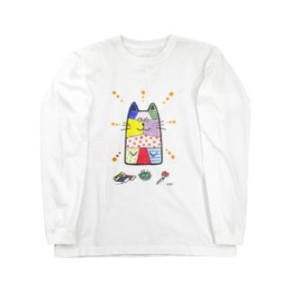 「パッチワークのネコ」 ロングスリーブTシャツ