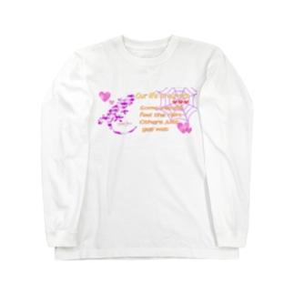 蜘蛛の巣トカゲ(トロピカル)夏 ロングスリーブTシャツ