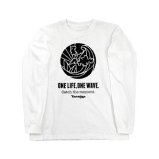 One Life, One wave.(ブラック) ロングスリーブTシャツ