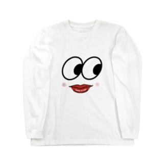 面白いお顔 ロングスリーブTシャツ