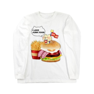 ねことハンバーガーセット ロングスリーブTシャツ
