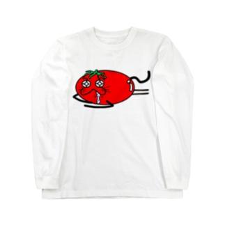 猫トマト:寝落ち ロングスリーブTシャツ