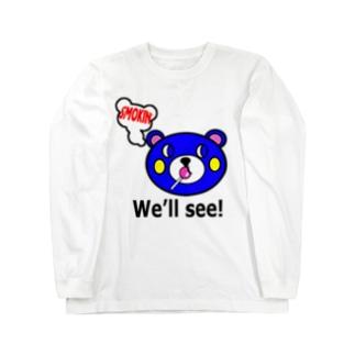 モクモックマ飴ちゃんフェイス 青 ロングスリーブTシャツ
