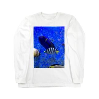 モノトーンなお魚 ロングスリーブTシャツ