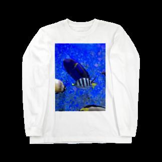 Luckyemeのモノトーンなお魚ロングスリーブTシャツ