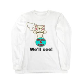 玉のりモクモックマ 白 ロングスリーブTシャツ