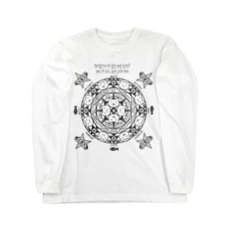 猫召喚魔法陣(グレー線) ロングスリーブTシャツ