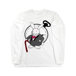 ウサギと時計 ロングスリーブTシャツ