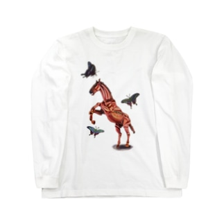 馬と蝶 ロングスリーブTシャツ