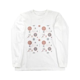 お花と図形たち ロングスリーブTシャツ