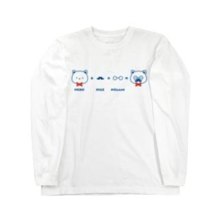 ネコ+ヒゲ+メガネ ロングスリーブTシャツ