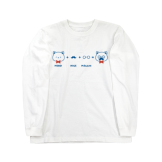 チョッちゃんのネコ+ヒゲ+メガネ ロングスリーブTシャツ