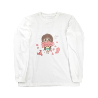 バラと女の子 ロングスリーブTシャツ