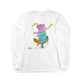 バナナサーカスの豚 ロングスリーブTシャツ