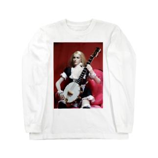 バンジョーを演奏する金髪メイド A blonde maid with a Banjo (doll photo) ロングスリーブTシャツ