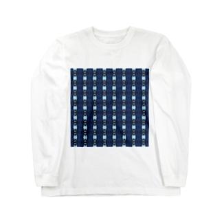 地紋:藍色の連続模様 ロングスリーブTシャツ
