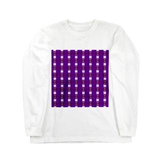 地紋:紫色の連続模様 ロングスリーブTシャツ