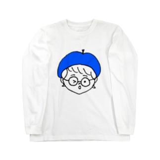 ベレー帽ちゃん(青) ロングスリーブTシャツ