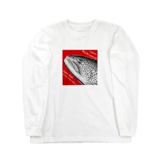 イトウ!(HUCHO PERRYI)生命たちへ感謝を捧げます。 ロングスリーブTシャツ