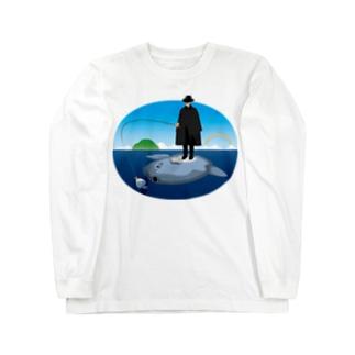 マンボウに乗った旅人 ロングスリーブTシャツ