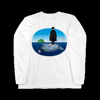 めぐみさらしのマンボウに乗った旅人 ロングスリーブTシャツ