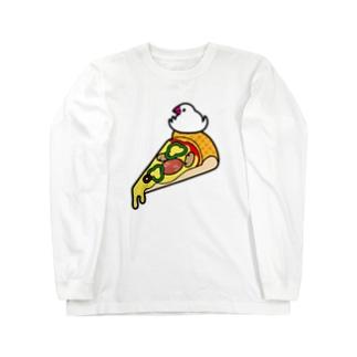 ピザで暖をとる文鳥 ロングスリーブTシャツ