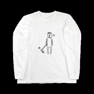 PokuStarの杵と臼のツーショットロングスリーブTシャツ