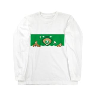 野球と犬のわんわんナンバーワン ロングスリーブTシャツ